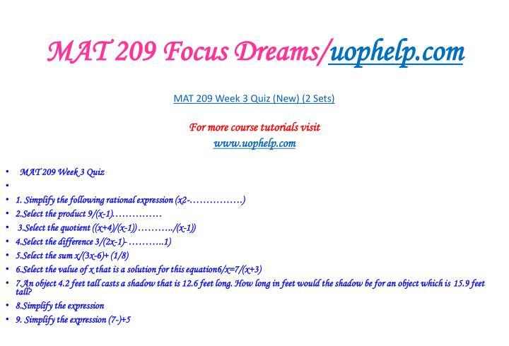 MAT 209 Focus Dreams/