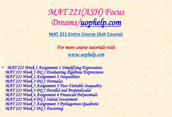 Mat 221 ash focus dreams uophelp com1