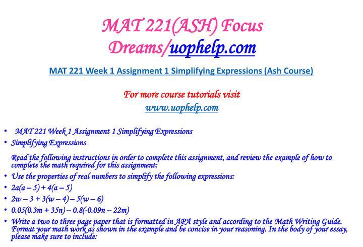 Mat 221 ash focus dreams uophelp com2
