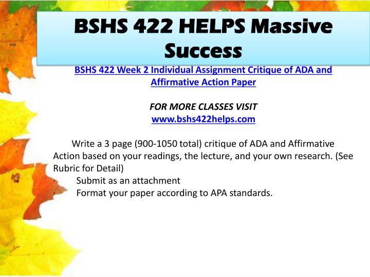 BSHS 422 HELPS Massive Success