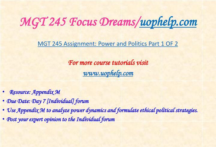 Mgt 245 focus dreams uophelp com1