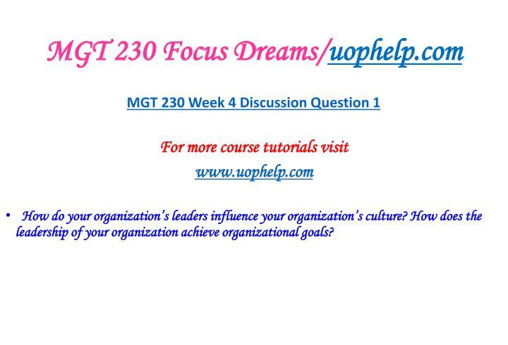 MGT 230 Focus Dreams/