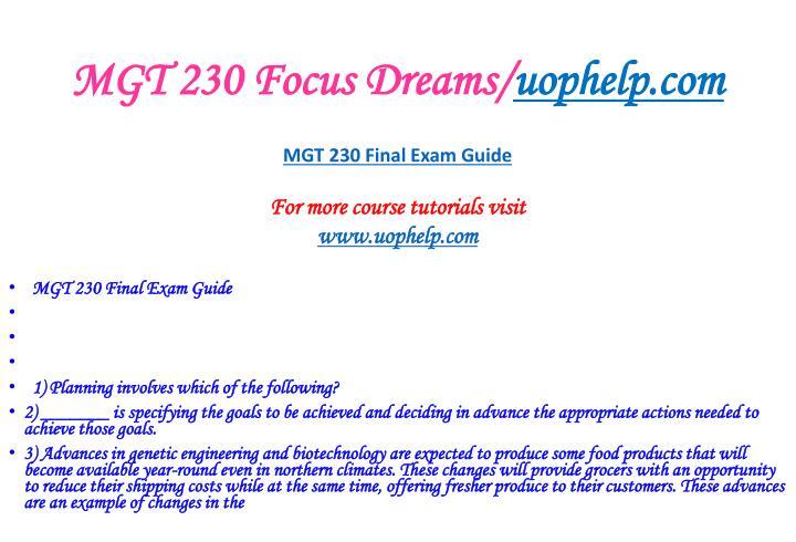Mgt 230 focus dreams uophelp com2