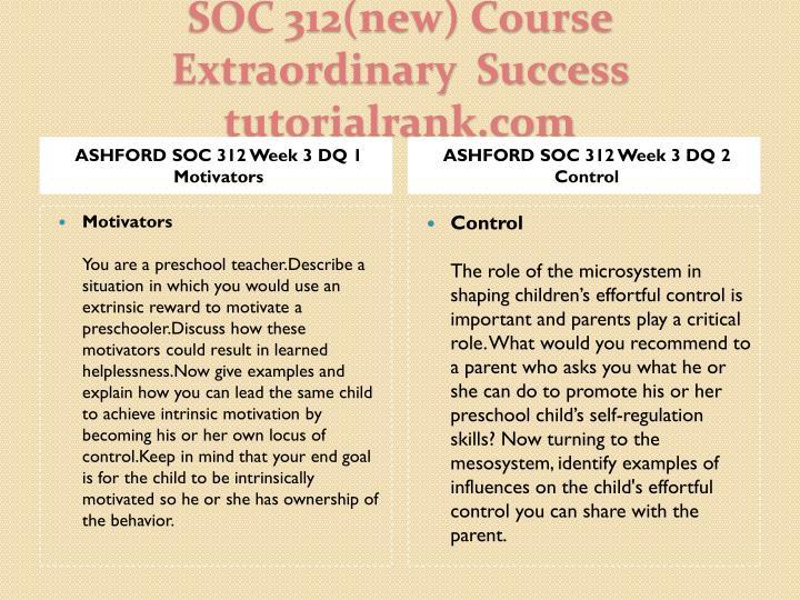 ASHFORD SOC 312 Week 3 DQ 1 Motivators