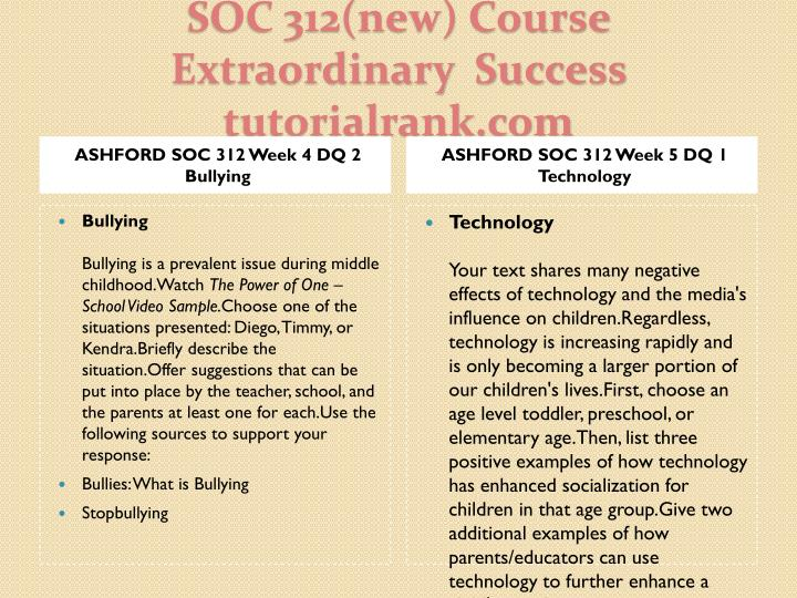 ASHFORD SOC 312 Week 4 DQ 2 Bullying