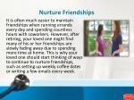 nurture friendships