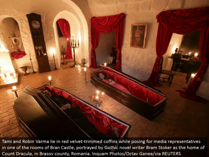 Tami and Robin Varma lie in red velvet-trimmed pine boxes while posturing for media agents in one of the rooms of Bran Castle, depicted by Gothic novel author Bram Stoker as the home of Count Dracula, in Brasov province, Romania. Inquam Photos/Octav Ganea/by means of REUTERS