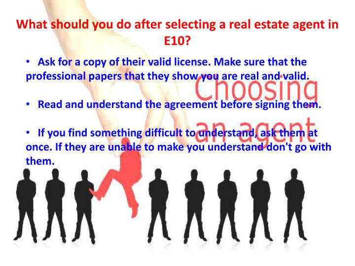 What should you do after selecting a real estate agent in E10?