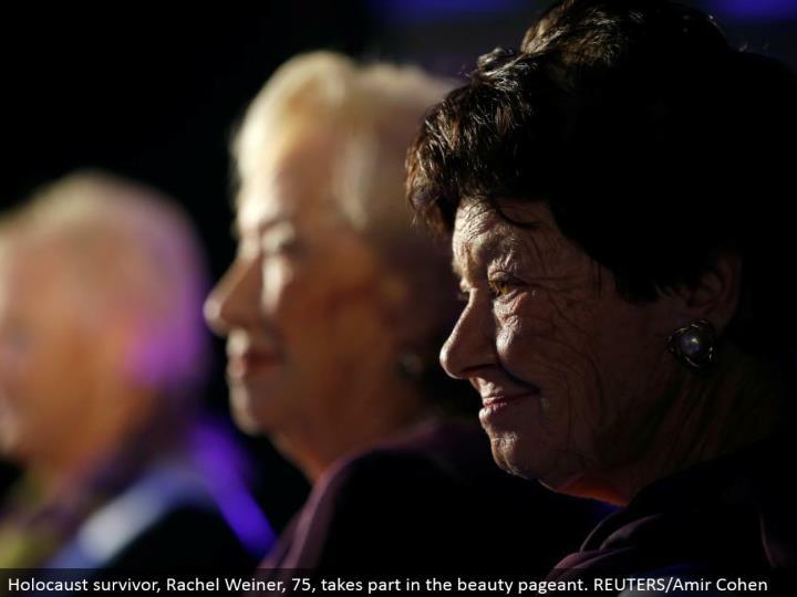 Holocaust survivor, Rachel Weiner, 75, participates in the magnificence exhibition. REUTERS/Amir Cohen
