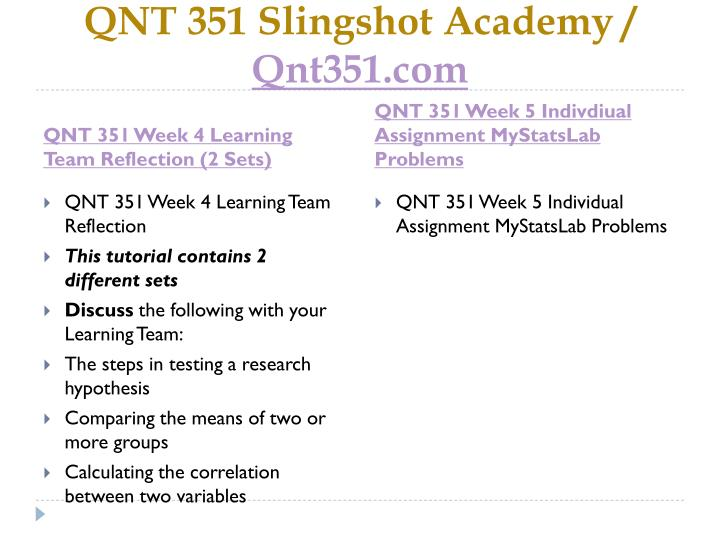 qnt 351 compare the mean of two or more groups