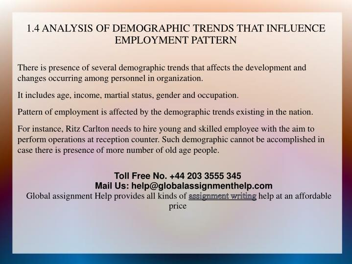 1.4 ANALYSIS OF DEMOGRAPHIC TRENDS THAT INFLUENCE EMPLOYMENT PATTERN