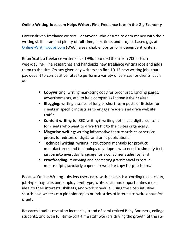 PPT - Online-Writing-Jobs com Helps Writers Find Freelance