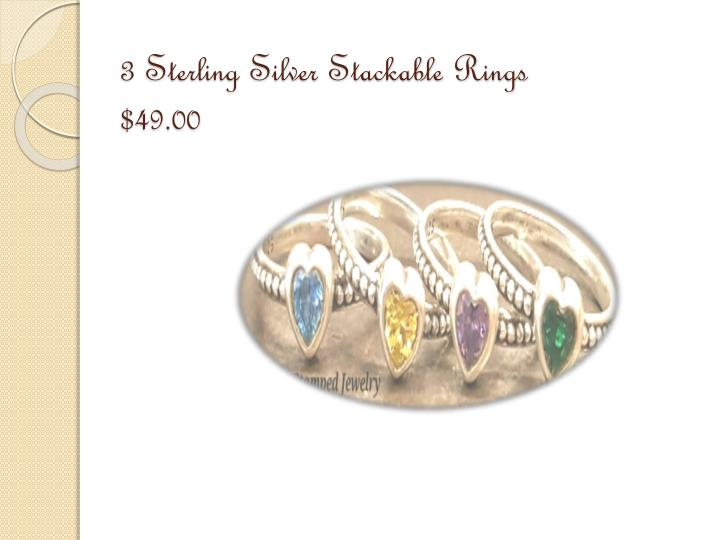 3 Sterling Silver Stackable Rings