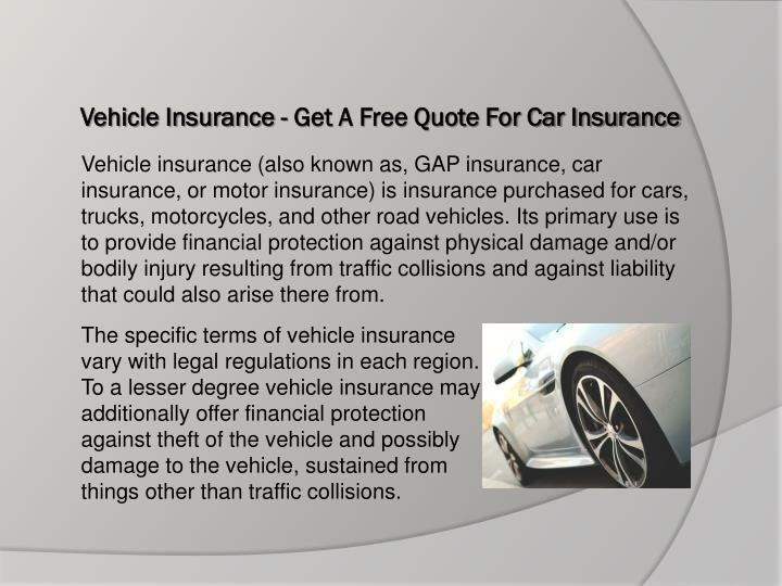Vehicle insurance get a free quote for car insurance