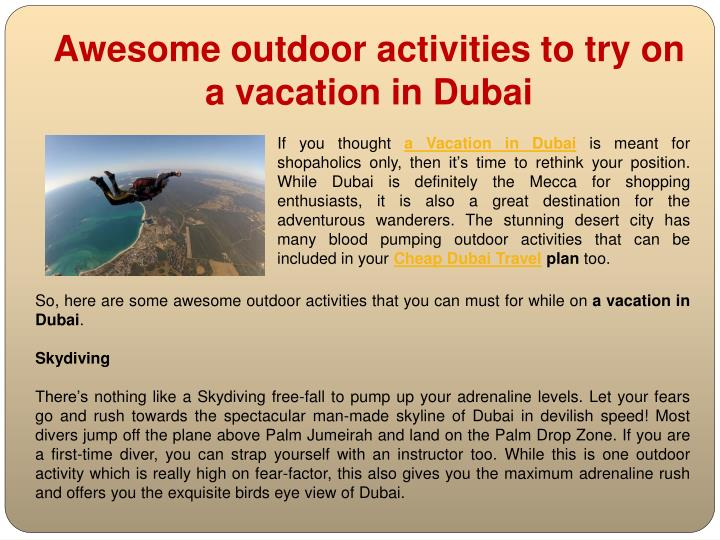 awesome outdoor activities to try on a vacation in dubai n.