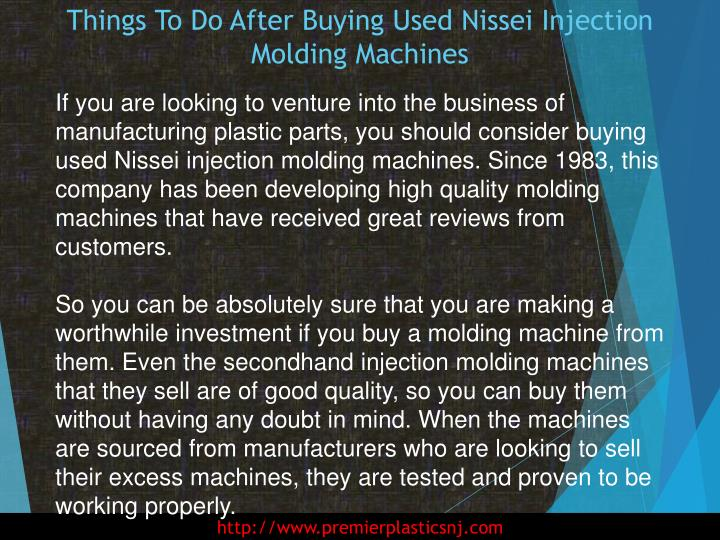 Things to do after buying used nissei injection molding machines1