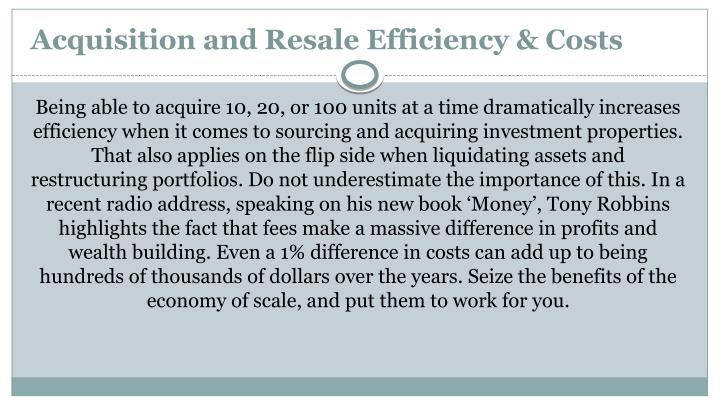 Acquisition and Resale Efficiency & Costs