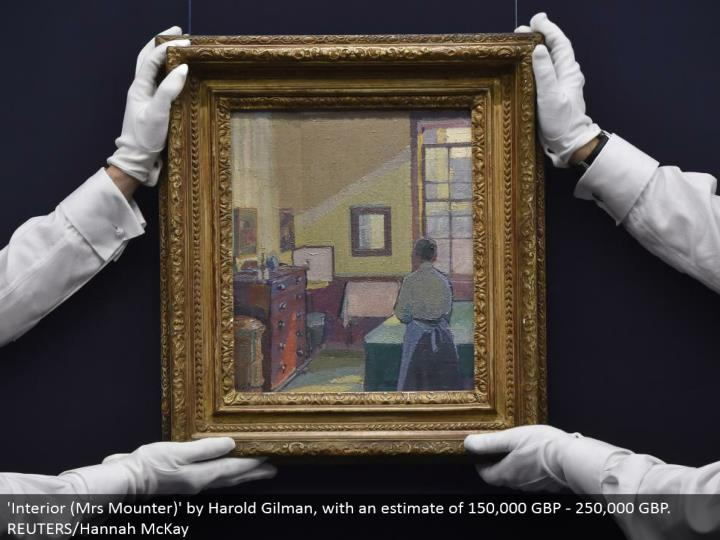 'Interior (Mrs Mounter)' by Harold Gilman, with a gauge of 150,000 GBP - 250,000 GBP. REUTERS/Hannah McKay