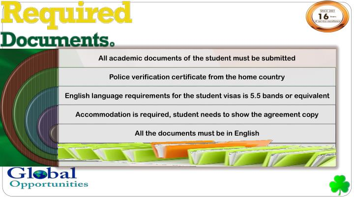 All academic documents of the student must be submitted