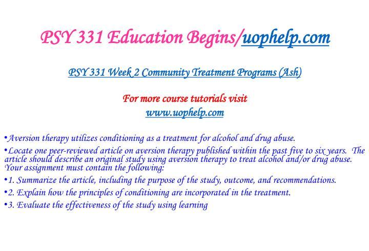 PSY 331 Education Begins/