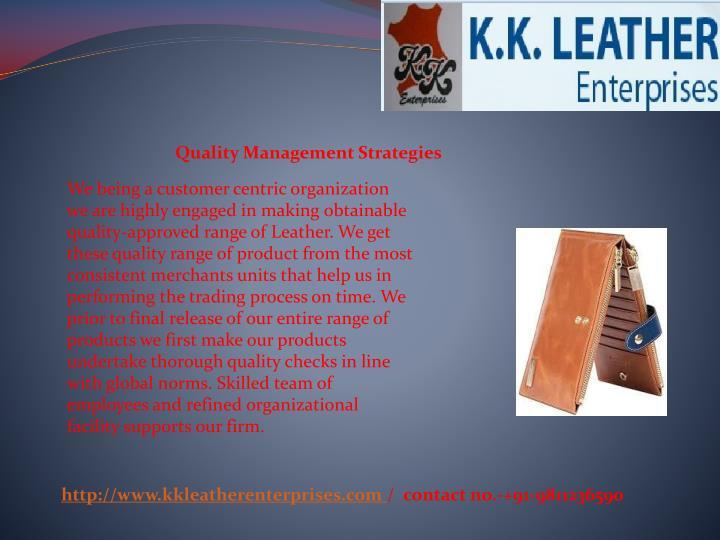 Quality Management Strategies