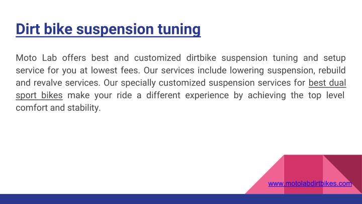 Dirt bike suspension tuning