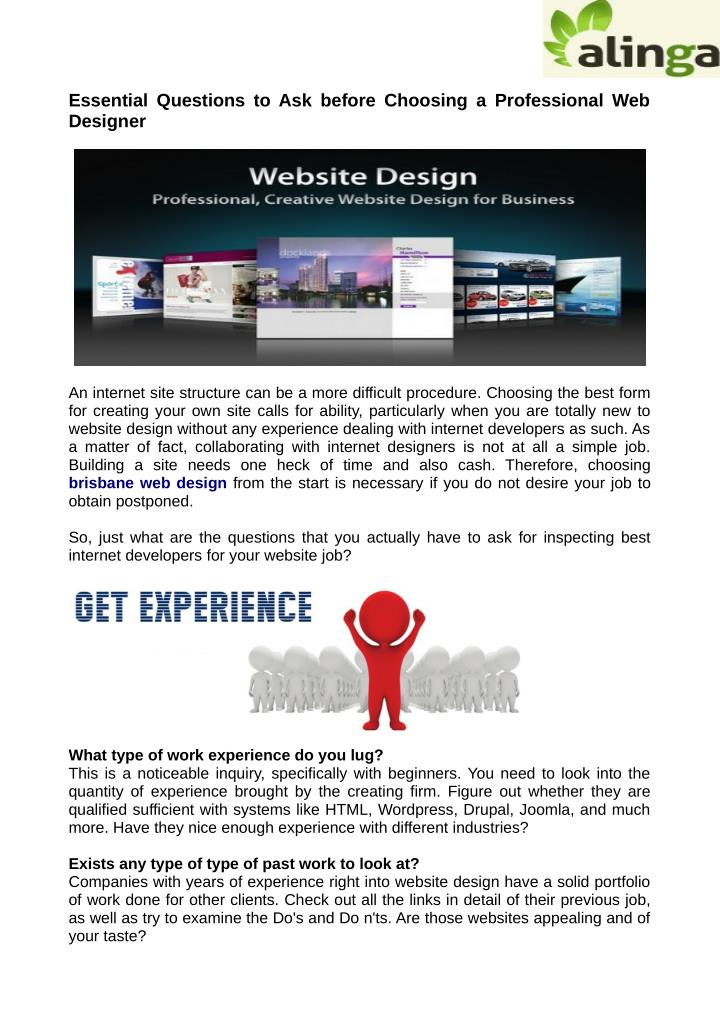 Essential Questions to Ask before Choosing a Professional Web