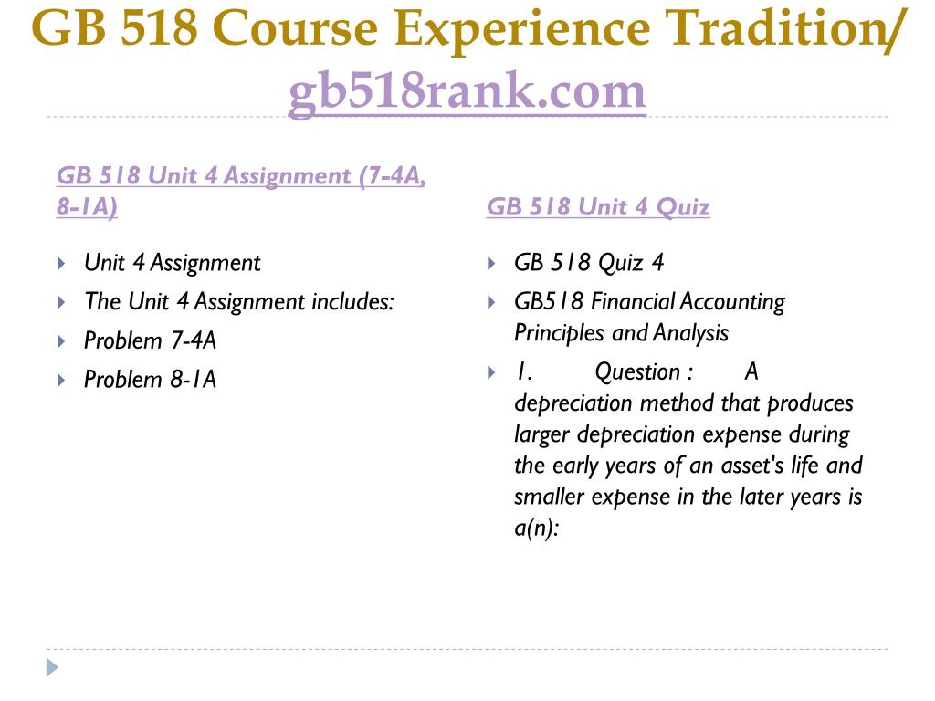 PPT - GB 518 Course Experience Tradition / gb518rank com PowerPoint