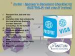 inviter sponsor s document checklist for australia visit visa if invited