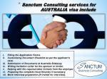 sanctum consulting services for australia visa include