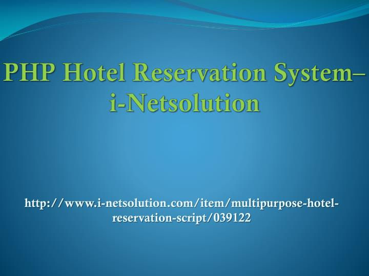 Php hotel reservation system i netsolution