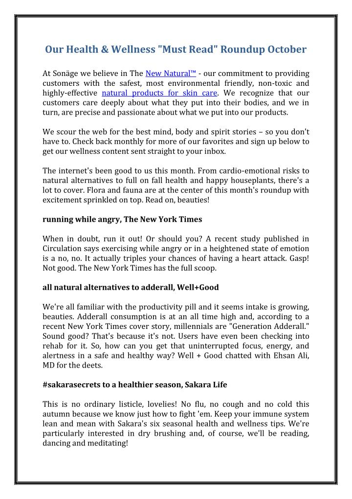 """Our Health & Wellness """"Must Read"""" Roundup October"""
