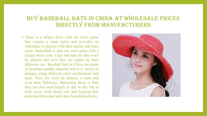 Buy Baseball Hats in China at Wholesale Prices