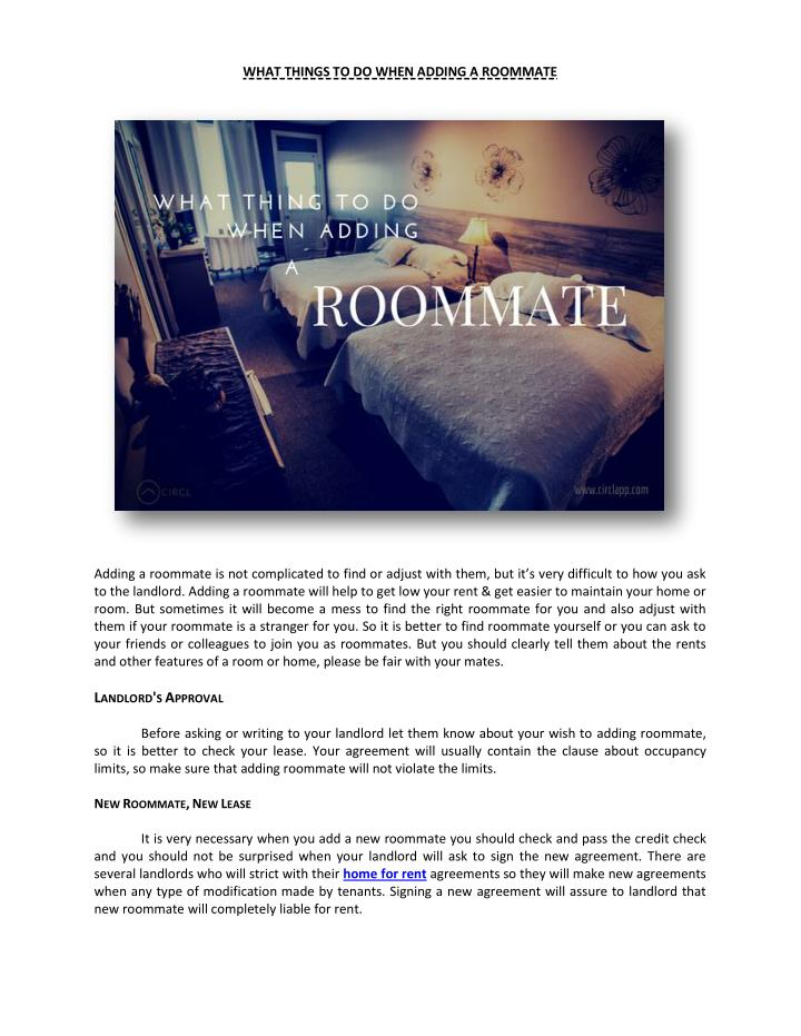 WHAT THINGS TO DO WHEN ADDING A ROOMMATE