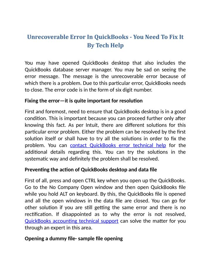 Unrecoverable Error In QuickBooks - You Need To Fix It