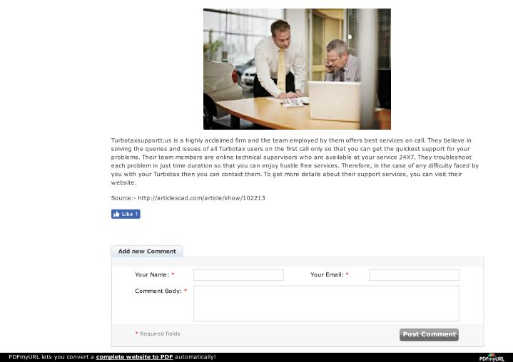 Turbotaxsupportt.us is a highly acclaimed firm and the team employed by them offers best services on...
