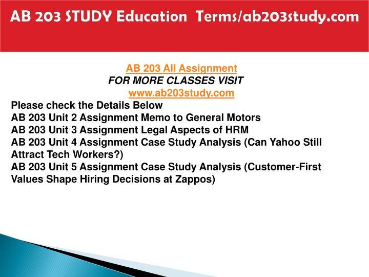 Ab 203 study education terms ab203study com1