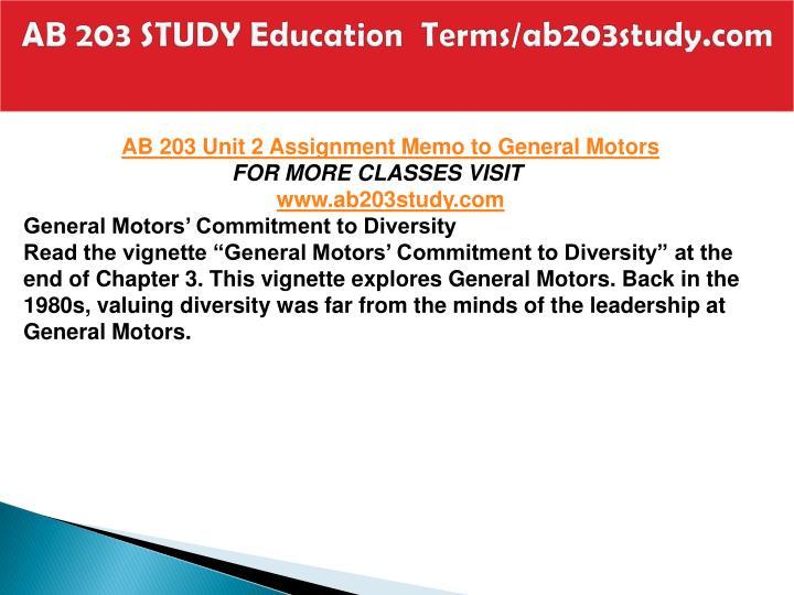 Ab 203 study education terms ab203study com2