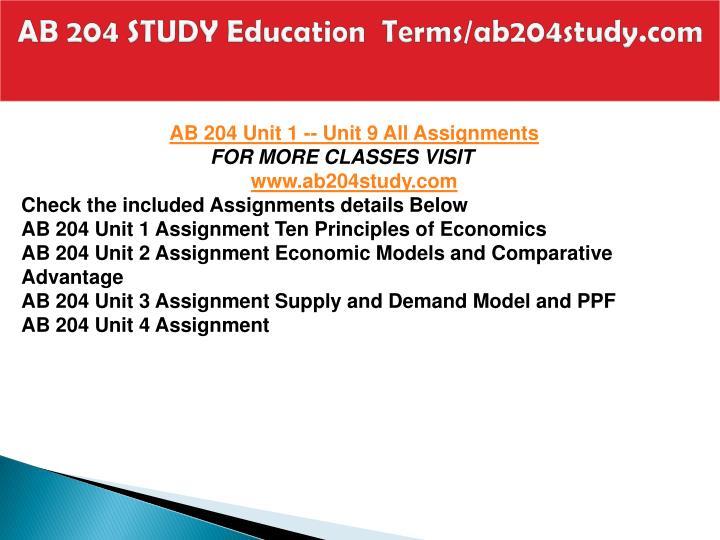 Ab 204 study education terms ab204study com1