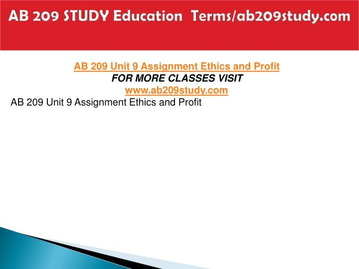 AB 209 STUDY Education  Terms/ab209study.com