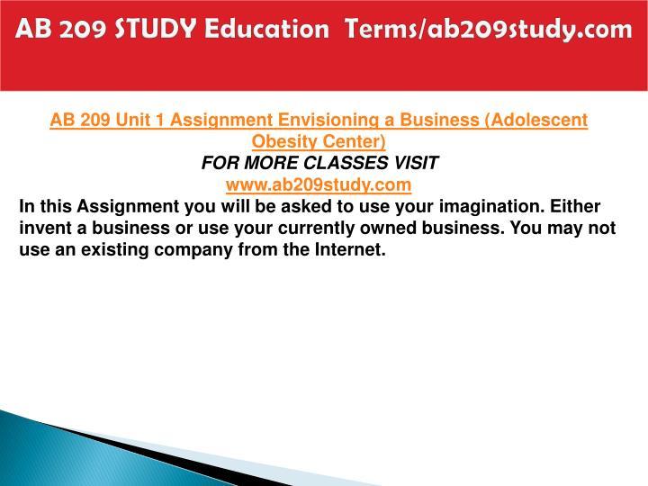 Ab 209 study education terms ab209study com2