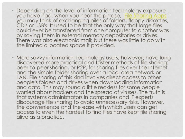 """Depending on the level of information technology exposure you have had, when you hear the phrase, """""""