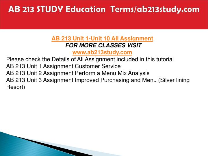 Ab 213 study education terms ab213study com2