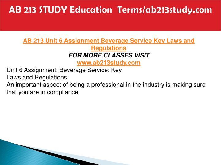 AB 213 STUDY Education  Terms/ab213study.com