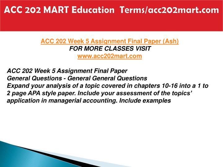 ACC 202 MART Education  Terms/acc202mart.com