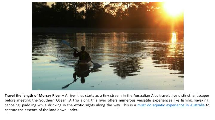 Travel the length of Murray River