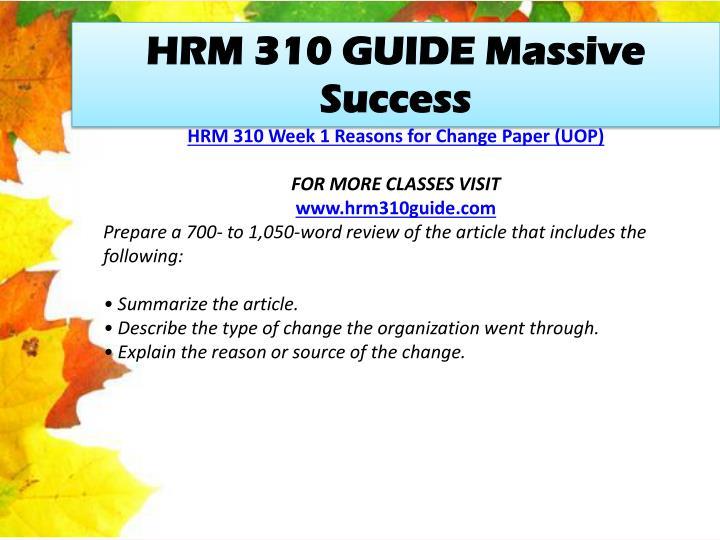 HRM 310 GUIDE Massive Success