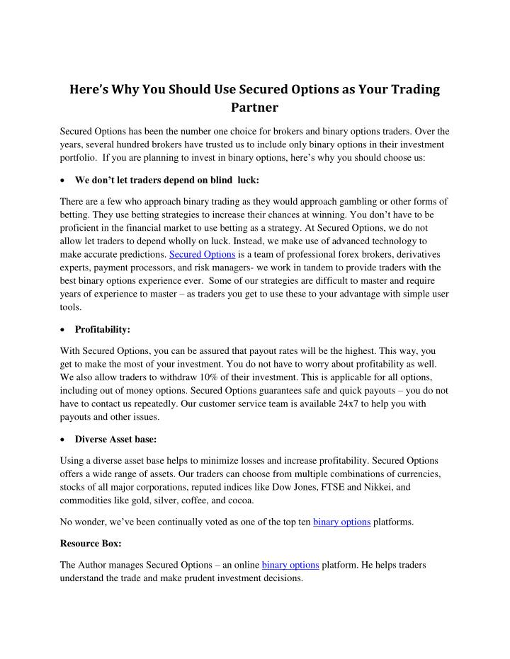 Here's Why You Should Use Secured Options as Your Trading