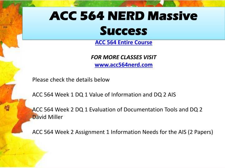 ACC 564 NERD Massive Success