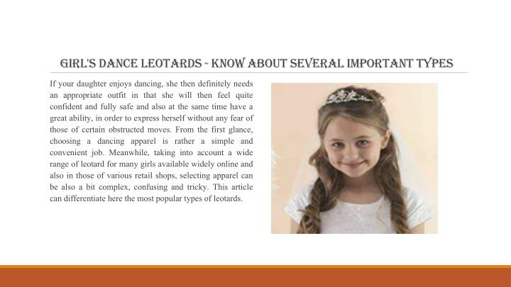 Girl's Dance Leotards - Know About Several Important Types